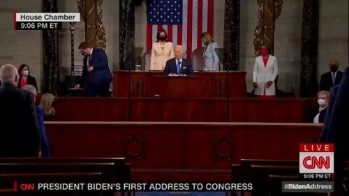 """Biden: """"Madam Speaker, Madam Vice Pres. No president has ever said those words from this podium...And it's about time."""""""