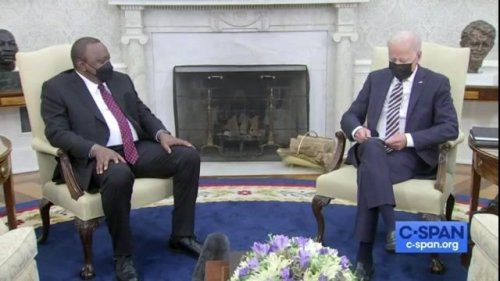 """Biden jokes with Pres. Kenyatta after Kenya became president of U.N. Security Council: """"Thanks for letting us stay in."""""""