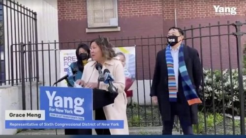Grace Meng, New York's first Asian American member of Congress, endorses Andrew Yang for NYC mayor.