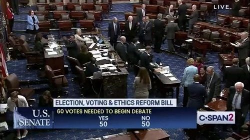 Senate votes to not allow debate on the For the People Act, an election and voting reform bill, 50-50.