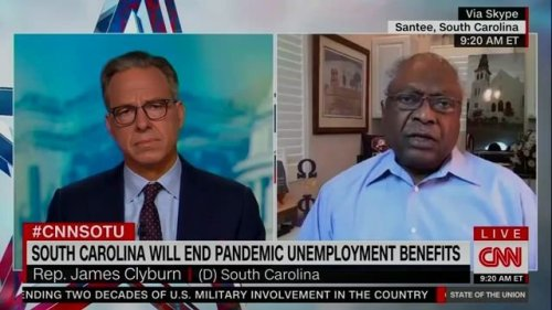 """House Majority Whip Clyburn dismisses the notion that people don't want to go back to work bc of unemployment checks."""""""