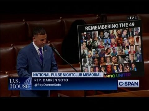 House passes bill designating Pulse nightclub site in Orlando, where 49 people were killed on June 12, 2016 as memorial.
