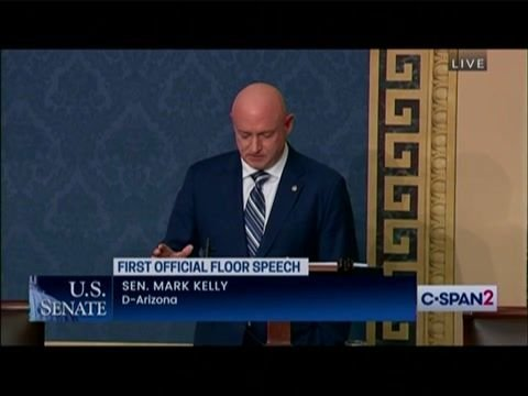 Standing ovation for Cindy McCain as she sits in the gallery for Sen. Mark Kelly's (D-AZ) first official floor speech.
