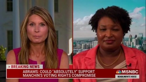 Stacey Abrams responds to Sen. Blunt (R-MO) opposing Manchin's voting rights compromise because she endorsed it.
