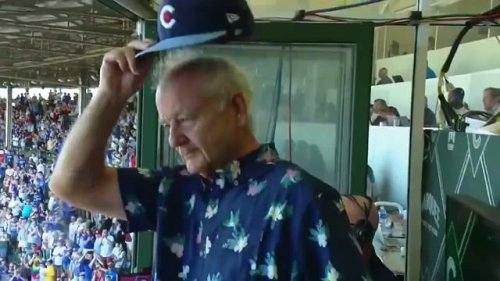 Bill Murray is at Wrigley to celebrate it being at 100% capacity.