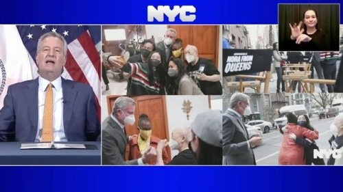 NYC Mayor de Blasio announces a new vaccination site in Times Square for people working in the film and TV industry.