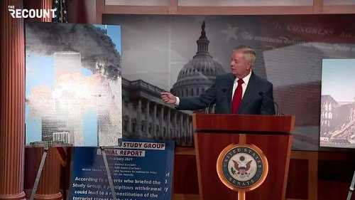 "Sen. Graham (R-SC) shows pictures of the Twin Towers & Pentagon on 9/11: ""What makes you think this won't happen again?"""