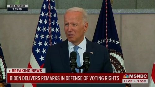 """""""Have you no shame?"""" — President Biden to Republican lawmakers on protecting the right to vote."""