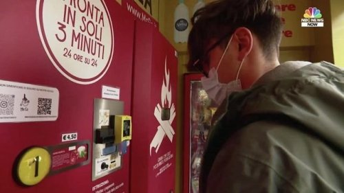 Rome has a new vending machine which slides out freshly cooked pizzas in just three minutes.