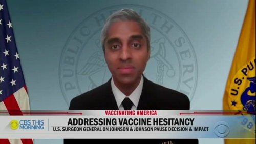 U.S. Surgeon General Dr. Vivek Murthy's 4-year-old son pops into the feed for a hug during a CBS This Morning interview.