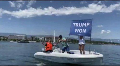 Noor bin Laden, Osama bin Laden's niece, protests the Biden-Putin summit in Geneva with a 'Trump Won' flag.