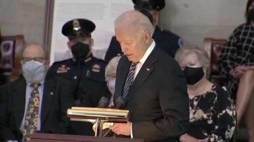"""Biden's message to late USCP Officer William Evans' family: """"Your son, your husband, your brother, your dad was a hero."""""""