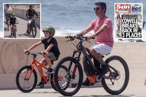 Simon Cowell rides a bike for first time since back breaking accident