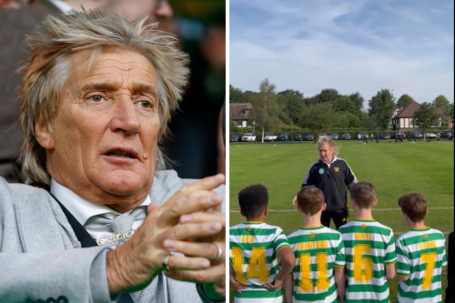 Celtic-daft rocker Rod Stewart delivers pre-match talk with young Hoops team