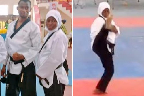 Eight-months pregnant Aminat Idrees wins gold in TAEKWONDO leaving fans inspired