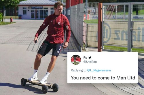 Nagelsmann rides SKATEBOARD into Bayern training as fans demand he move to Prem