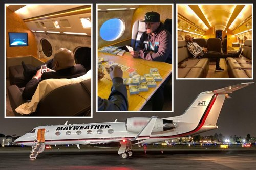 Inside Mayweather's custom £50m private jet with name on side and in-built TVs