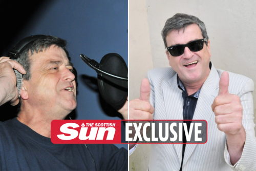 Pictures show Bay City Roller Les McKeown recording his final number one track