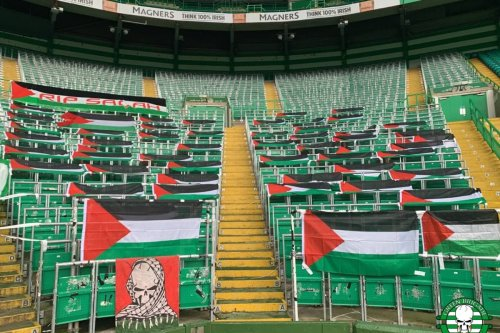 Green Brigade show support for Palestine with Celtic Park flag display