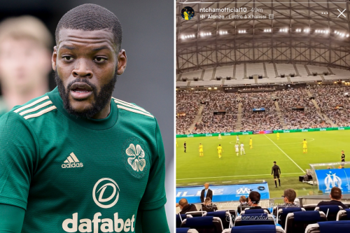 Olivier Ntcham appears to watch Marseille in France - while Celtic face Hearts