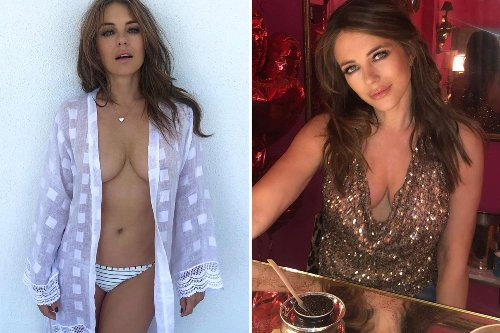 Liz Hurley, 56, strips topless as she poses in racy robe for 'staycation' snap