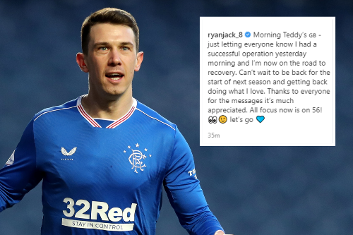 Rangers ace Ryan Jack provides injury update as he says 'all focus is now on 56'