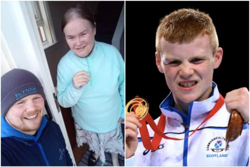 Scots boxer Charlie Flynn poses with SuBo after starting up own cleaning firm