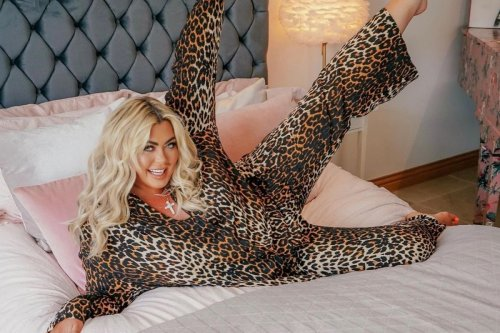 Gemma Collins looks trimmer than ever as she slips into sexy leopard print 'pyjamas' and kicks leg in the air