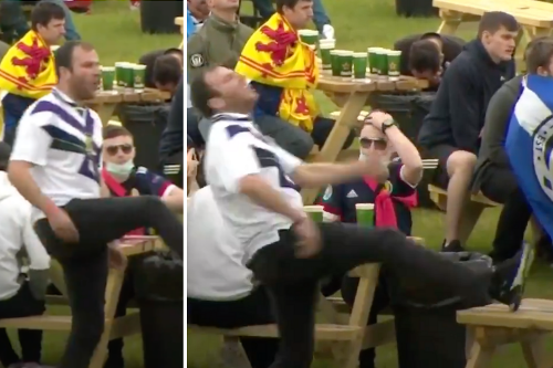 Moment Scot tries to kick fan zone table but misses 'sums up team's Euros bid'