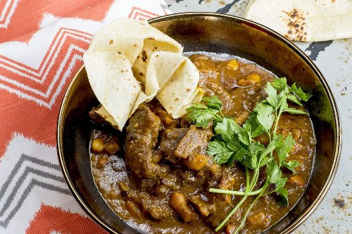 Rooibos Beef Curry served with Roti - Beat the winter chill