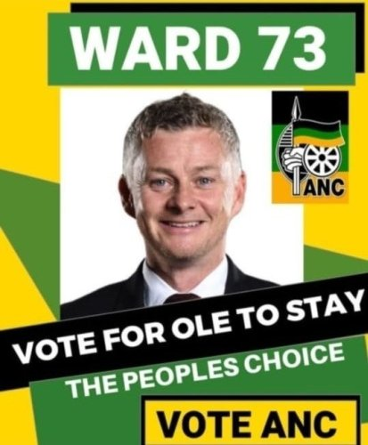 Oh no: Ole Gunnar Solskjaer targeted in ANC election poster parody