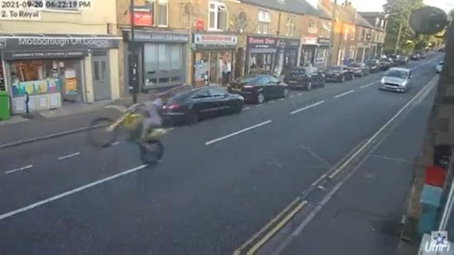 The shocking footage was captured on CCTV and now police in Sheffield are searching for the culprit
