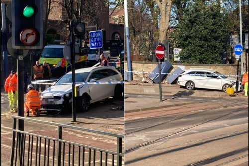 Car rolled down hill and crashed into tram sign on Sheffield street after 'brake failure'