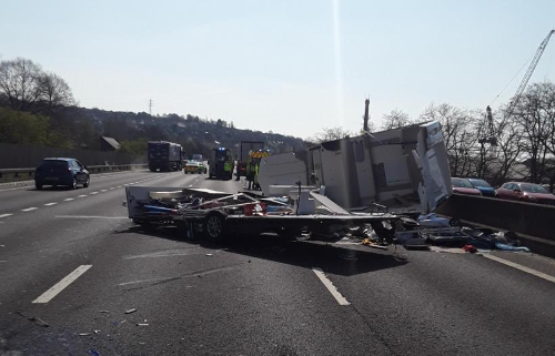 M1 brought to standstill near Meadowhall after crash involving lorry and caravan leaves debris strewn across carriageway