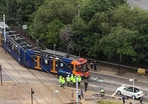 Emergency services at the scene of Supertram crash in Sheffield