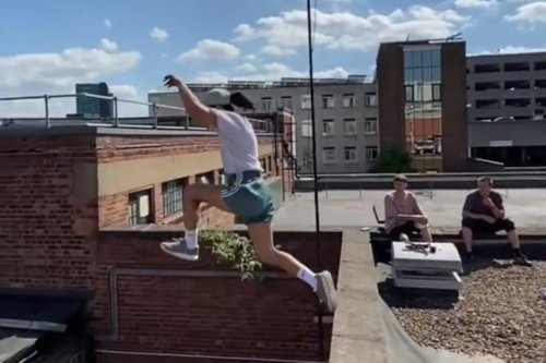 Watch parkour star's daring leap across Sheffield rooftops on The Moor