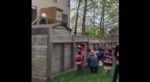 Watch: Local kids throw hats into Tim Stutzle's backyard after Senators rookie scored first hat trick in empty rink