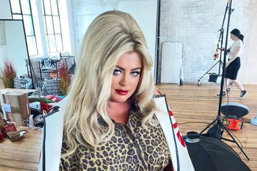 Gemma Collins shows off her tiny waist as she transforms into a 1960s siren with big beehive