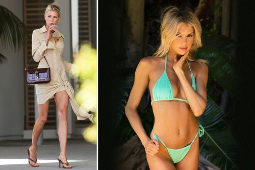 Baywatch star Charlotte McKinney shows off endless legs while sipping coffee
