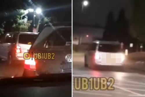 Shocking moment driver reverses into car in McDonald's drive-thru row