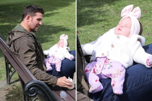 Katie Price's ex Alex Reid seen with baby daughter for the first time