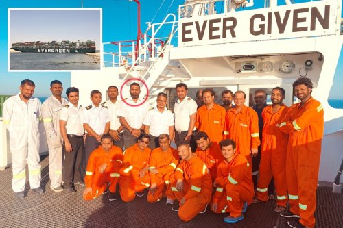 Captain and crew of 'megaship' that blocked Suez canal pictured for first time