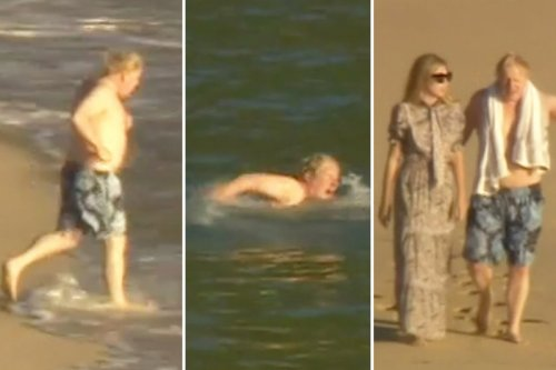 Boris channels Hasselhoff as he runs into sea before drying off with Carrie