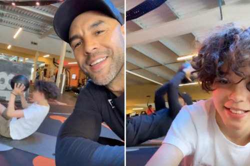 GMB's Alex Beresford and son Cruz, 11, enjoy father-son workout at the gym