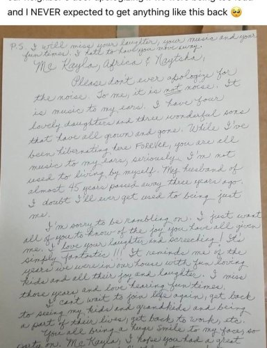 Woman who wrote apology note to neighbour over noise gets incredible reply