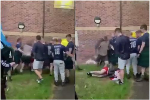 Shocking moment soldiers erupt into Scotland v England brawl at army base