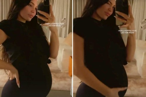Pregnant Kylie shows off huge baby bump and says she 'really popped'