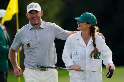 Who is Lee Westwood's wife Helen Storey, has she caddied for him and when did they start dating?