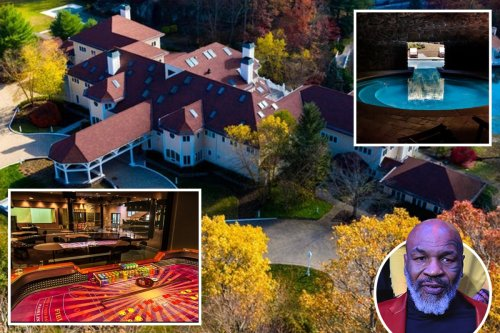 Mike Tyson's extravagant 52-room mansion he sold to rapper 50 Cent for £3.3m with two pools, nightclub and studio