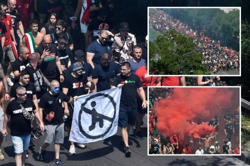 Hungary fans hold anti-kneeling banner & set off flares before Euro France clash